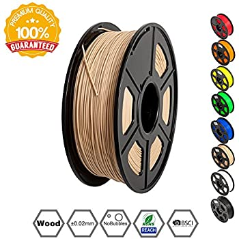 SUNLU Wood Filament - 1.75 mm 3D Printer Filament, Dimensional Accuracy +/- 0.02 mm Sweet Smell 3D Printing Filament, 2.2 lbs Spool Wood 3D Printer Filaments for Most 3D Printer & 3D Pen