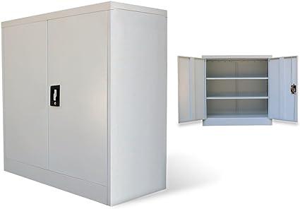 Festnight Armario de Oficina de Metal de 2 Puertas 90 cm (Gris): Amazon.es: Hogar