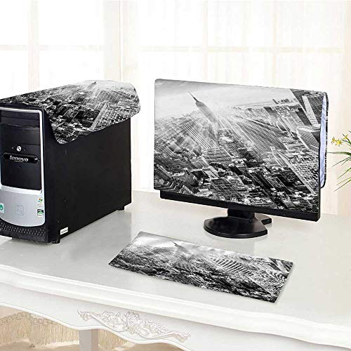 (UHOO2018 One Machine LCD Monitor Keyboard Cover New York City Manhattan Downtown Skyline with Empire State Build dust Cover 3 Pieces /22