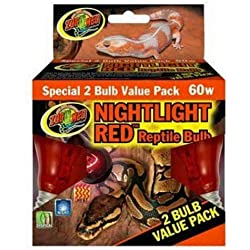 Zoo Med Nightlight Reptile Bulb, 60-watt, Red, 2-Pack