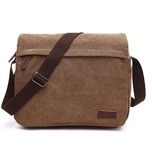 NANJUN Vintage Canvas Messenger Bag Shoulder Bags for Men Women(jb007-Coffee-m)