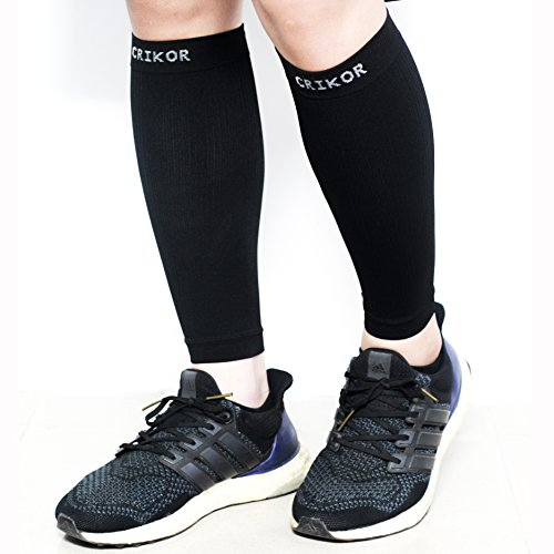 Crikor Calf Compression Sleeve (1-Pair) Improves Circulation and Recovery for Shin Splint, Calf Pain, Swelling, Leg Cramps - Man Women Runners Guards Sleeves for Running, Cycling, Maternity, Travel
