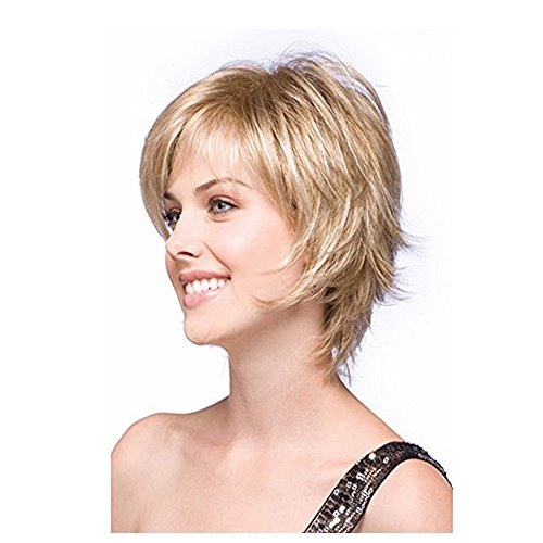 Beauty : LEJIMEI Short Straight Wigs with Bangs Blonde Synthetic Hair Wigs for White Women Natural Fashion Full Wig with Free Wig Cap