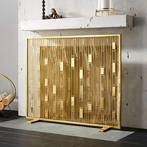 暖炉スクリーン 北欧の金の暖炉スクリーン-長方形のシンプルなリビングルーム錬鉄中空ベビーフェンス-錬鉄金属