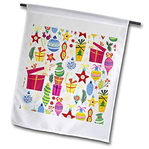 3dRose Anne Marie Baugh - Christmas - Cute Fiesta and Ornaments Pattern - 18 x 27 inch Garden Flag (fl_289301_2)