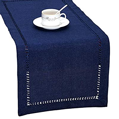 GRELUCGO Handmade Hemstitch Navy Blue Rectangular Table Runner Or Dresser Scarf (14 x 72 Inch) - Simple design but looks very delicate 100% hand-hemstitch instead of machine-hemstitch Can be customized to table runner, placemats, napkins, tablecloth of any size; matching cushion covers also available - table-runners, kitchen-dining-room-table-linens, kitchen-dining-room - 511LvD4rHbL. SS400  -