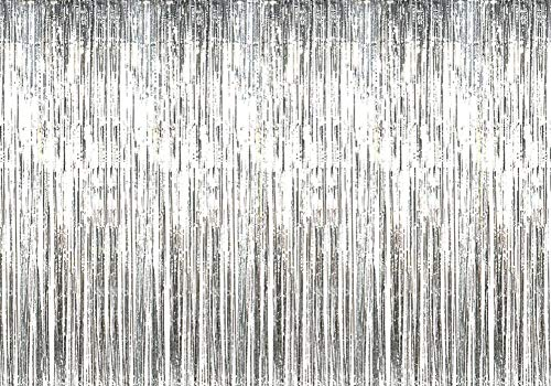 Deruicc 12ft x 8ft Metallic Foil Fringe Curtains Silver Tinsel Fringe Shimmer Curtain for Birthday Wedding Party Christmas Party Photo Booth Backdrop Decorations (Silver)