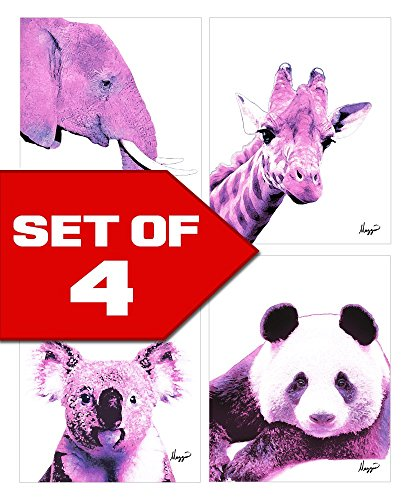 Pink Nursery Animals Elephant, Panda, Koala, Giraffe! Color Accent Bundle 4 Stylish 8x10 Wall Art Decor Print Set. Perfect for Baby's Room, Kids Room, Nursery! By Mazzio Arts Only at (Nursery Bundle)