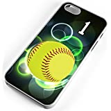 iPhone Case Fits iPhone SE 5s 5 Softball Mercy Rule Any Custom Jersey Number 1 Clear Rubber