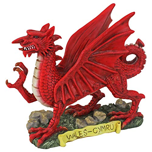 (Design Toscano The The Red Welsh Dragon Statue Collection: Desktop Walking Stick, Full Color)