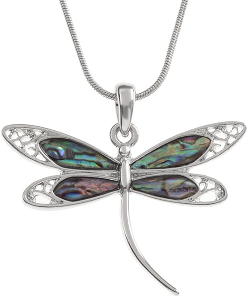 Dragonfly Necklace Paua Abalone Shell Pendant Womens Silver Fashion Jewellery