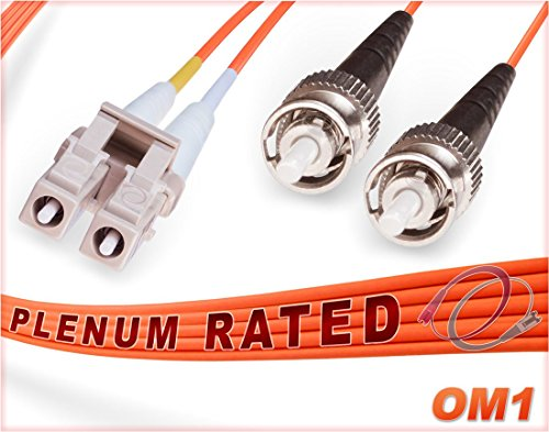 FiberCablesDirect - 8M OM1 LC ST Fiber Patch Cable | 1G Plenum Duplex 62.5/125 LC to ST Multimode Jumper 8 Meter (26.24ft) | Length Options: 0.5M-300M | Made in USA ()