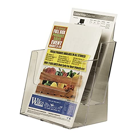 Clear-Ad - LHF-S112 - Acrylic Slant Back 2 Tier 2-Pocket Bifold Brochure Holder 6x9 - Perfect to Display Booklets, Catalogues, Pamphlets, Flyers, Postcards (Pack of - 9 Pocket Magazine Display
