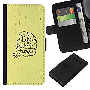 KingStore / Leather Etui en cuir / Samsung Galaxy A3 / Vida Cita divertida Pedo Arte Slogan Espiritual