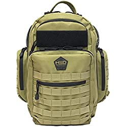 HSD Diaper Bag Backpack + Changing Pad, Insulated Pockets, Stroller Straps for The Tactical Dad (Coyote Brown)