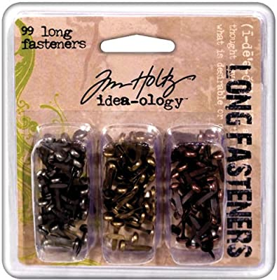 Tim Holtz Idea-ology Metal Long Fasteners by, 99 per Pack, 7/16 Inches, Antique Finishes, TH92703