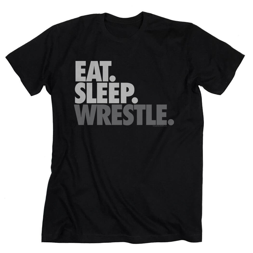 Eat Sleep Wrestle T-Shirt | Wrestling Tees by ChalkTalk SPORTS | Black | Adult Small