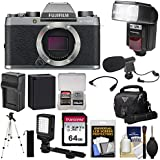 Fujifilm X-T100 Digital Camera Body (Dark Silver) with 64GB Card + Battery & Charger + LED Video Light + Microphone + Flash + Case + Tripod + Kit