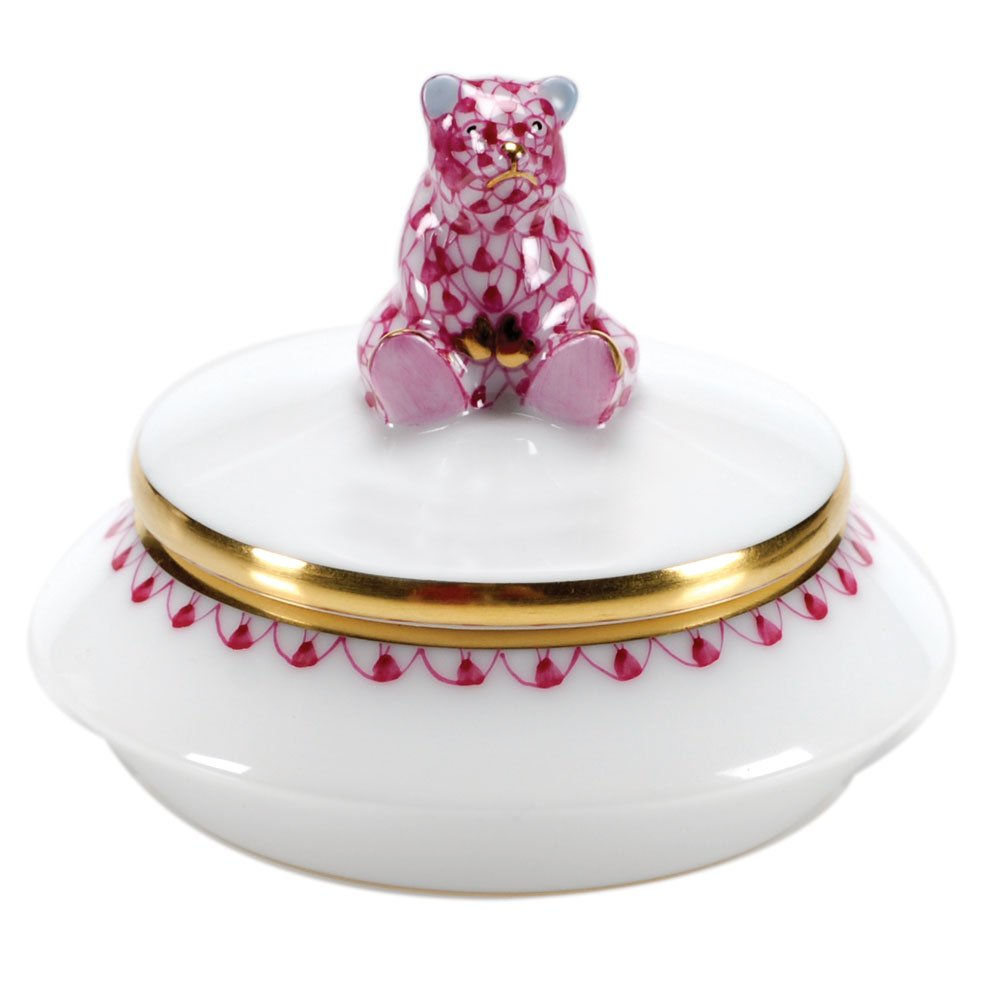 Herend First Curl Bear Box Porcelain Figurine Pink Fishnet