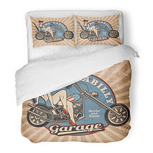 MIGAGA Decor Duvet Cover Set Twin Size Pin Up Girl on Motorcycle Monochrome Vintage White All Text are The Separate 3 Piece Brushed Microfiber Fabric Print Bedding Set Cover