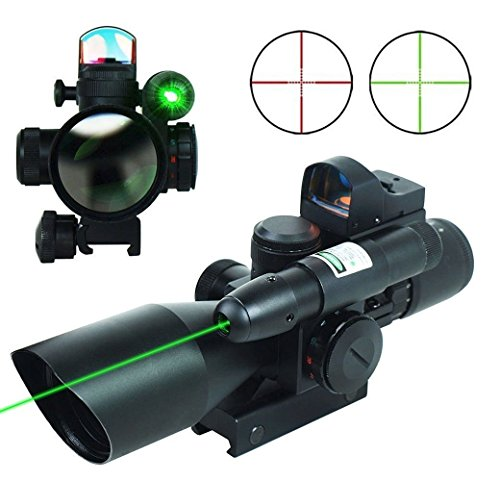THEA 2.5-10x40 Tactical Rifle Scope Dual Illuminated Mil-dot W/RED(Green) Laser Sight, Rail Mount and 4 Reticle Red/Green Dot Reflex Sight (Green)