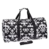Damask ll Print 22″ Luggage Duffle Bag (Black & White)