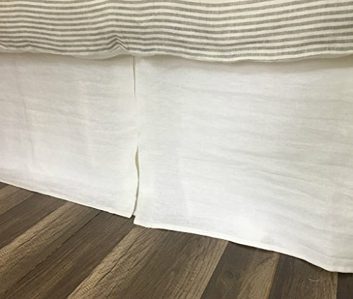 White Tailored Bedskirt handmade in natural linen, Available in Twin Queen King California King Bed Skirt, Custom Drop Length, FREE SHIPPING