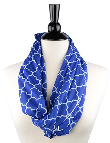 - Womens Infinity Scarf w/Zipper Pocket & Pattern Print, Infinity Scarves -Royal Blue Scarf