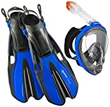 HEAD Sea View Dry Full Face Mask Fin Snorkel Set, Blue, Small/Medium