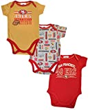 Official National Football League Fan Shop Authentic NFL Baby 3-pack Body Suit Onesies (San Francisco 49ers, 3/6 Months)