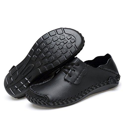 Männer Schuhe Casual auf Loafers Leder Fahren Fashion Slip Schuhe Schwarz Meiping padzFxqq