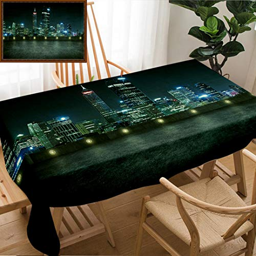 Unique Custom Design Cotton and Linen Blend Tablecloth Empty Asphalt Roof Top with Modern City Skyline Night Scene Perth AustraliaTablecovers for Rectangle Tables, Small Size 48