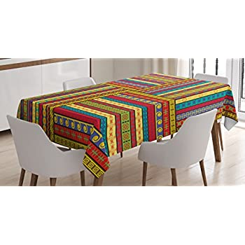 Charmant Ambesonne African Tablecloth, Ethnic Borders Pattern Old Fashioned Ancient  Culture Theme Colorful Artful Print, Dining Room Kitchen Rectangular Table  Cover, ...
