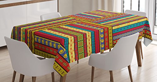 - Ambesonne African Tablecloth, Ethnic Borders Pattern Old Fashioned Ancient Culture Theme Colorful Artful Print, Dining Room Kitchen Rectangular Table Cover, 52 W X 70 L Inches, Yellow Red
