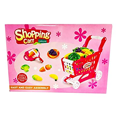 KidPlay Products Girls Pretend Play Grocery Shopping Cart Fruit Cutting Board: Toys & Games