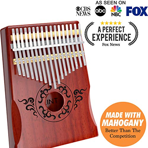 Kalimba Thumb Piano - 17 Keys Portable Thumb Piano, Perfect Gift for Kids and Adult Beginners, Finger Piano Made with African Wood, with Study Instruction, Tune Hammer and Durable Carrying Case