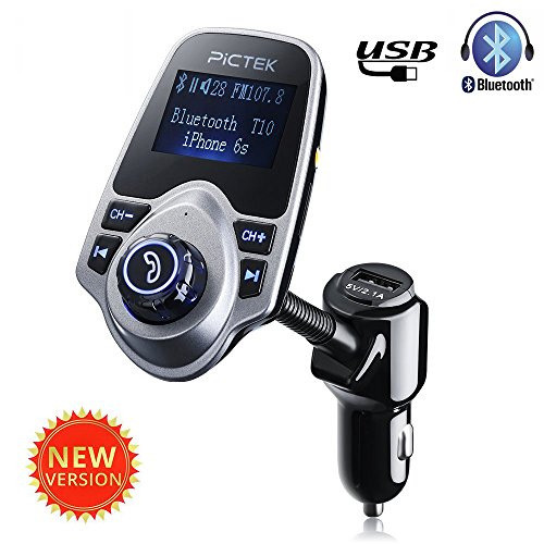 Amazon Lightning Deal 93% claimed: Bluetooth FM Transmitter, Pictek Wireless USB Car Charger with 3.5mm Audio Input/ Output Port, Radio Adapter Car Kit with 1.44 Inch Display