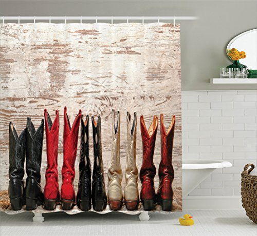 Wild West Theme Ideas (Western Decor Shower Curtain Set by Ambesonne, American Legend Cowgirl Leather Boots Rustic Wild West Theme Cultural Folkart Print, Bathroom Accessories, 84 Inches Extralong, Beige Red Black)