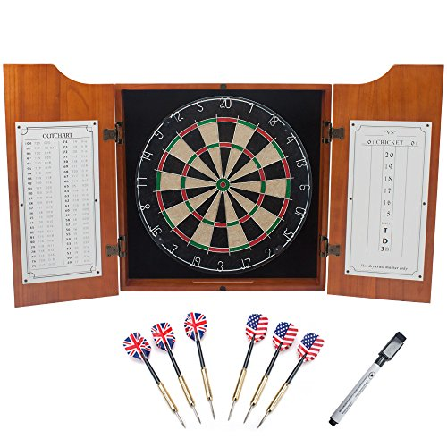 GSE Games & Sports Expert Solid Oak Wood Dart Board Cabinet with Sisal Dartboard & 6 Steel Tip Darts