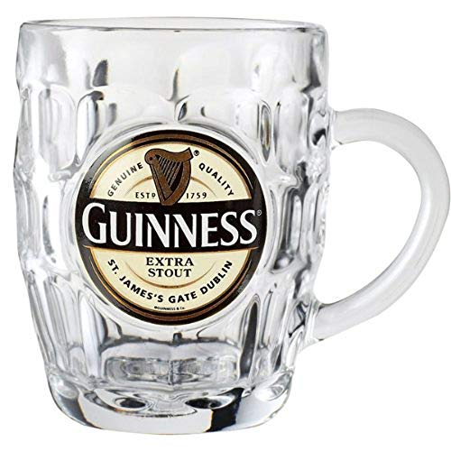 Guinness Hobnail Tankard - Classic Glass Beer Mug with (Guinness Toucan)