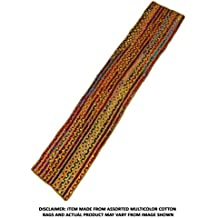Cotton Craft Hand Woven Reversible Jute & Cotton Multi Chindi Braid Floor Runner, 2.5 x 8 Feet