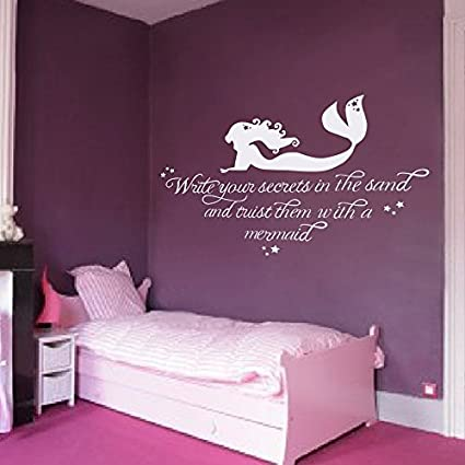 Wall Decal Decor Girls Room Wall Decal Mermaid Wall Sticker Write Your  Secrets In The Sand