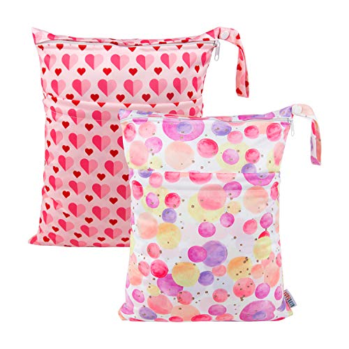 ALVABABY 2pcs Cloth Diaper Wet/Dry Bags|Waterproof Reusable with Two Zippered Pockets|Travel, Beach, Pool, Daycare, Soiled Baby Items,Yoga,Gym Bag for Swimsuits or Wet Clothes LZ0102