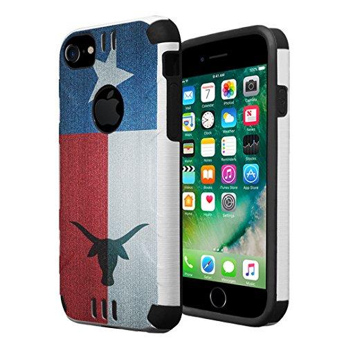 iPhone 7 Case, iPhone 6 / 6S Case, Capsule-Case Hybrid Dual Layer Silm Defender Armor Combat Case Brush Texture Finishing for Apple iPhone 7 / iPhone 6S / iPhone 6 - (TX Texas Flag)