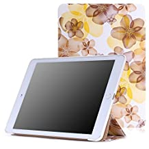 iPad Air 2 Case - MoKo Ultra Slim Lightweight Smart-shell Stand Cover Case for Apple iPad Air 2 (iPad 6) 9.7 Inch 2014 Tablet, Floral YELLOW (with Auto Sleep / wake, Not fit iPad Air 2013)