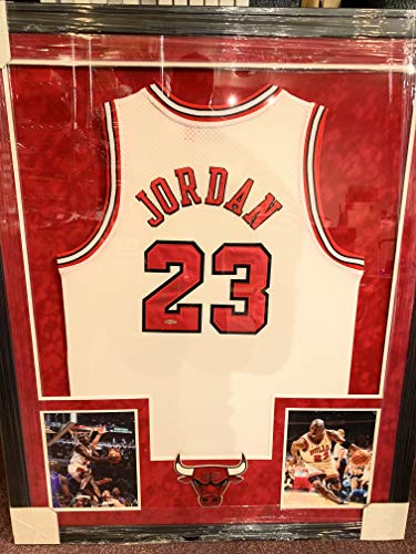 5bc1276b5bac Michael Jordan Chicago Bulls Autograph Signed Custom Framed Jersey White  W Silver UDA Upper Deck Authenticated