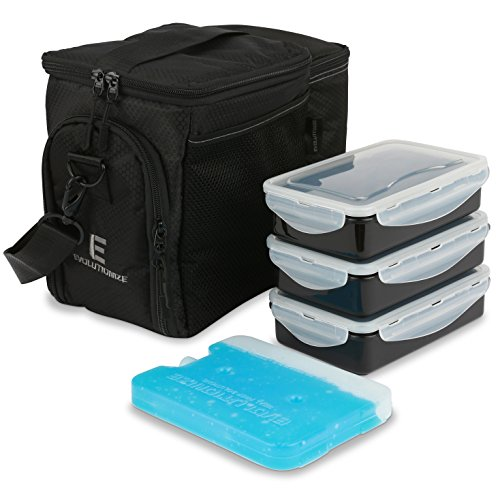 Evolutionize Meal Prep Insulated Lunch Bag - Meal Prep Cooler Bag Patent Pending Lunch Box includes Portion Control Meal Prep Containers + Ice Pack (3 Meal, Black)