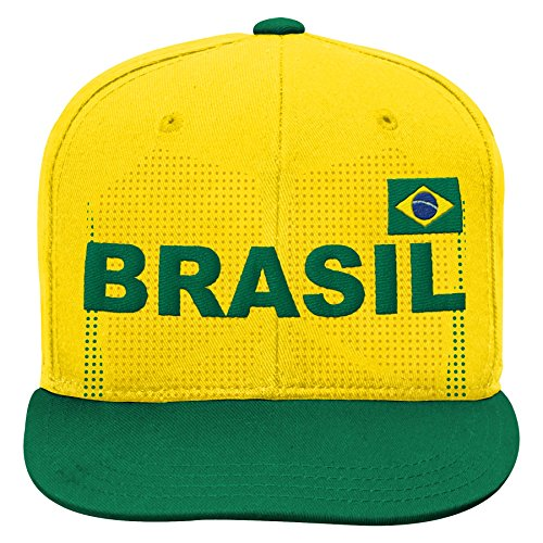 Outerstuff World Cup Soccer Brazil Boys Jersey Hook Flag Snapback Cap, Yellow, One Size - Brazil Soccer Cap