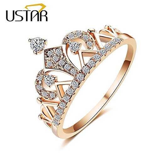 Amazon.com: Princess Crown Rings for Women - Sparkling Cubic Zirconia - Engagement Rings - Female Accessories - Sweet Romantic Gift for Girlfriend - Unique ...