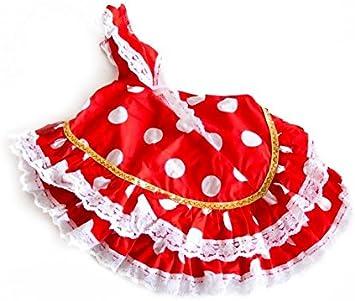 La Señorita Vestido Ropa Muñeca Flamenco España Disfraz Rojo Puntos Blanco: Juguetes y juegos - Amazon.es